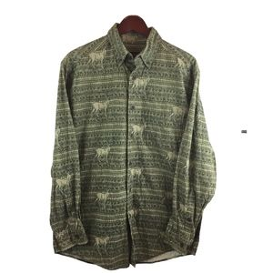 Woolrich Hunting Deer Motive Green Shirt Size M